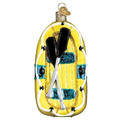 Blue & Yellow Raft With Paddles Old World Christmas Glass Ornament Nwt 46076