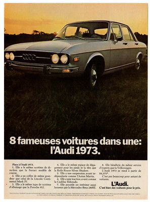 1973 AUDI 100 Vintage Original Print AD - Gray car photo Sunlight Canada French