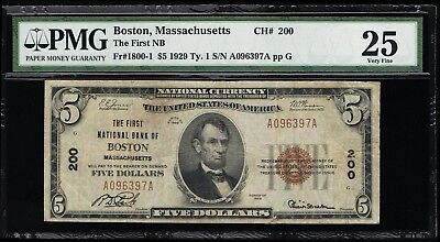 Affordable Genuine Fr #1800-1 Ch# 200 Boston Pmg Graded Vf 25 National Currency
