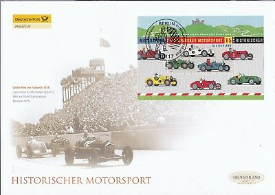 BRD 2009 Deutsche Post FDC MiNr. Block 75  Historischer Motorsport