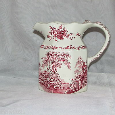 """Mason's Watteau 6"""" Pitcher Pink Red Milk Juice People Floral Transfer Ironstone"""