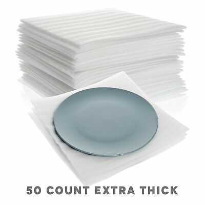 "Extra Thick Cushion Foam Sheets 12"" x 12"" (50 Count) Packing Supplies for Moving"