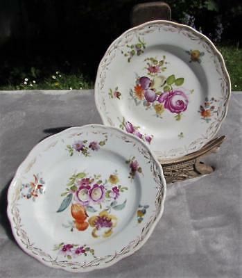 Pair of Antique 19thC Meissen Plates - Crossed Swords Mark - Polychrome