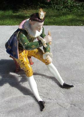 Rare Antique 19thC German / French Porcelain Figure of a Seated Man with Pipe