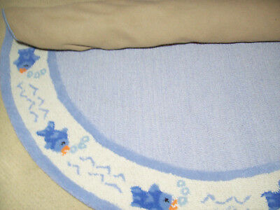 Pottery Barn Kids Blue Little Fish Fishies 5' Round Wool Rug Brand New
