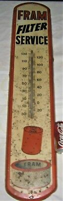Antique Auto Car Truck Fram Filter Usa Ri Metal Gas Oil Station Thermometer Sign