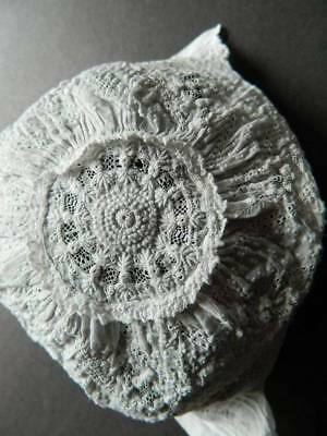 Tiny exquisite antique hand embroidered white cotton baby or dolls bonnet