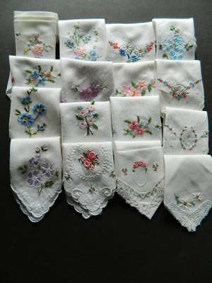 15 vintage circa 1940's ladies hankies all with hand embroidery.