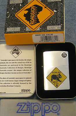 ZIPPO  ROAD SIGN AUSTRALIA Lighter 630 KOALAS Mint In Tin NEXT 4 km WITH CARD