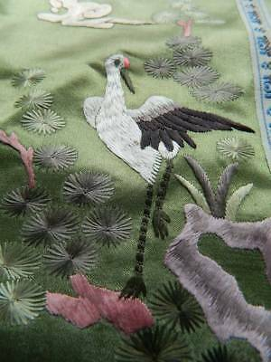 """Vintage Chinese hand embroidered silk panel or cushion front 9"""" x 18"""""""