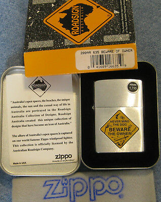 ZIPPO  ROAD SIGN AUSTRALIA Lighter 635 BEWARE OF OWNER Never Mind the Dog MINT