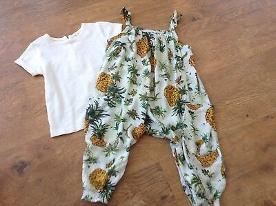 100% Next Girls Small Spring Summer Bundle / Outfit 9-12Mths Top Dungarees