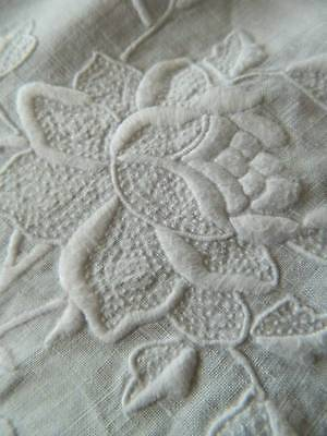 Gorgeous antique snow white Irish linen bedspread tablecloth  hand embroidery