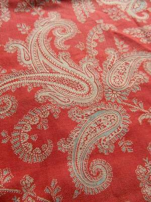 """Useful Victorian red paisley printed cotton fabric remnant 24"""" x 41"""""""