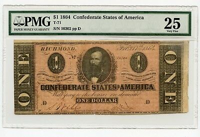 1864 $1 Confederate States of America Note (T-71) Very Fine 25 PMG.