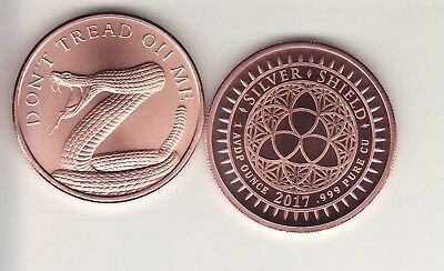 DON'T TREAD ON ME  1 oz. Copper Round Coin from Silver Shield  2017