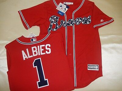 timeless design 47552 cc663 get braves 1 ozzie albies red new cool base stitched mlb ...