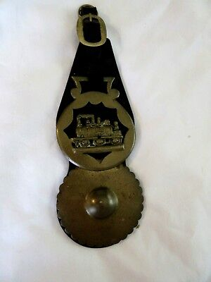 Brass Leather Horse Parade Decoration Medallion RR Steam Engine Wall Hanging