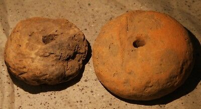 Two Large Neolithic European Spindle Whorls - Possibly Vinca Culture