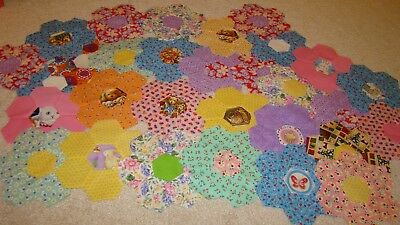 30 fabric quilt  pieces blocks grandmothers flower garden  patchwork applique