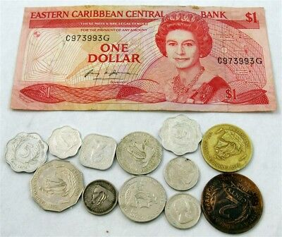 1959-1998 East Caribbean States Coins - 1-25 Cents, Dollar Coins & Note
