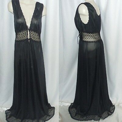 "VTG 60s LG Tall 64"" Length REGAL JENELLE Of CALIF SEXY BLACK NYLON NIGHTGOWN US"