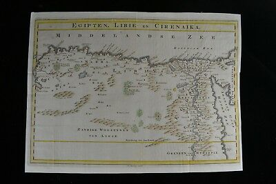 "Large 1757 Antique Map of North Africa Egypt Libya ""Egipten, Libie en Cirenaika"""