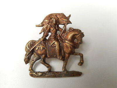 """Joan of Arc Riding Horse w Banner Vintage Pierced Detailed Brass Button 1-1/16"""""""