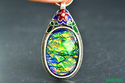 Old Handwork Cloisonne Carve Flower multiaspect Jade wonder China big Pendant