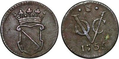Netherlands East Indies. Holland County issue Java. CU Half Duit 1755. VF+