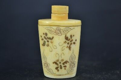 chinese Vintage Collectible Old 0x B0ne Carving butterfly Statue Snuff Bottle