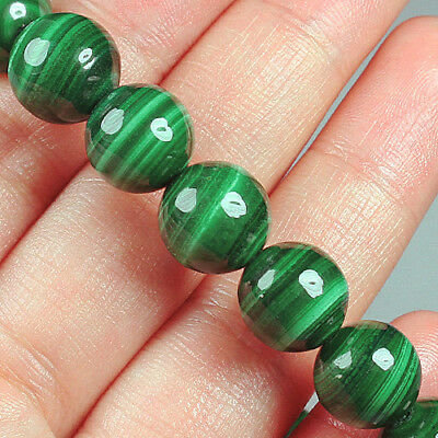 228.8CT 100% Natural Rarely Seen Bull's Eye Green Malachite Bead Bracelet BMA307