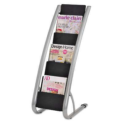 Alba Literature Floor Rack Six Pocket 13 1/3 x 19 2/3 x 36 2/3 Silver Grey/Black