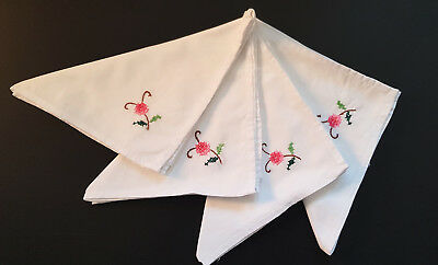 VINTAGE NAPKINS LINEN x 4 ~  HIGH TEAS, FRENCH PROVINCIAL, COUNTRY, SHABBY CHIC