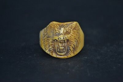 chinese Collectible Old wolf handwork carve ox horn Ring rare amulet tibet