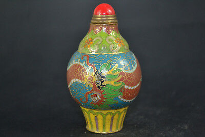 Chinese Old cloisonne painting dragon handwork antique Collectible snuff bottle