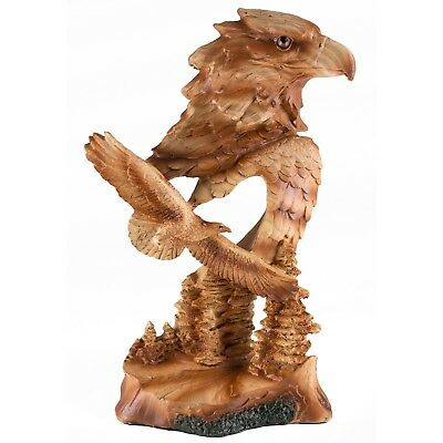 """Eagle Bust Carved Wood Look Figurine Resin 7.5"""" High New In Box!"""
