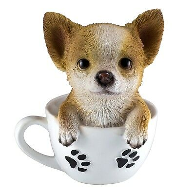 """Chihuahua Puppy In A Tea Cup Dog Figurine Resin 6"""" High New In Box!"""