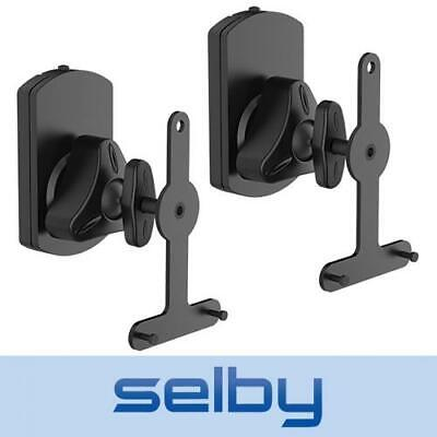 Speaker Wall Mount Brackets for Sonos PLAY:1 PLAY:3 Pair Pivot Black