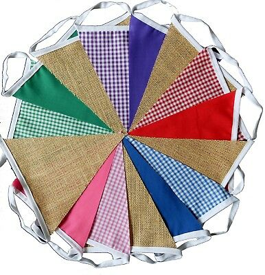 Gingham & hessian fabric bunting wedding party birthday 15 ft long / 15 flags