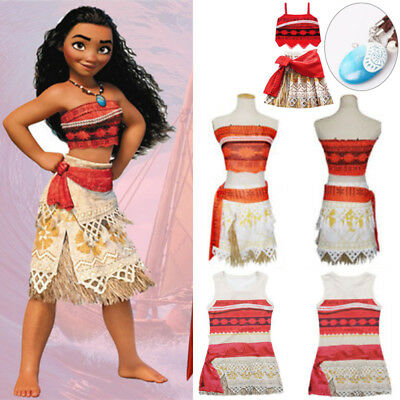 Moana Princess Fancy Dress Costume Girls Kids Sleeveless Outfit Cosplay Necklace