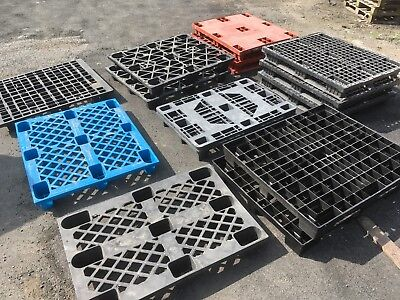 14 x Plastic Pallets Stacking Nesting Mixed Black Pallet
