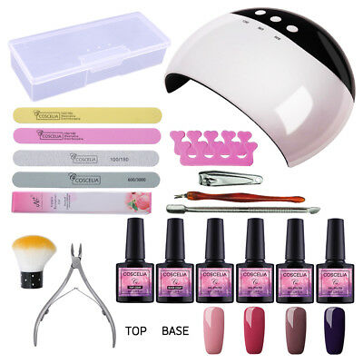 COSCELIA Kit LED Nail Lamp 4 Colours Nail Gel Polish Top Base Manicure Tools Set