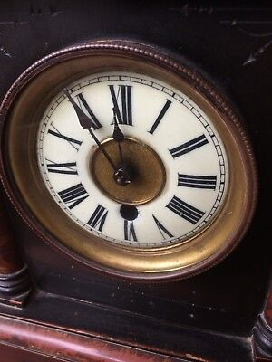 Antique American? Wood case  Mantle Clock porcelain