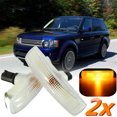 2x Clear Side Marker Repeater Indicator Lights For Land Rover Range Rover Sport