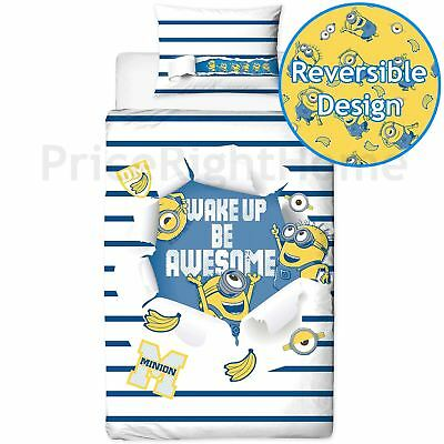 Despicable Me Minions Awesome Single Duvet Cover Set Reversible Panel