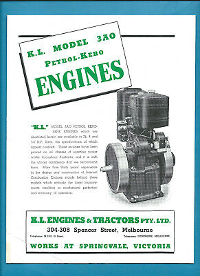 KL MODEL 3AO PETROL-KERO ENGINES 4 BHP & 5-6 BHP 4 page brochure