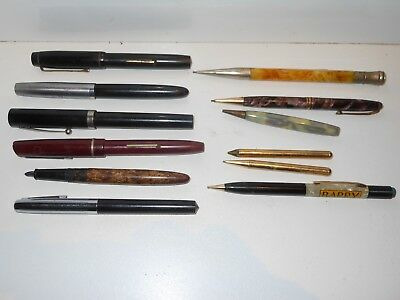 Vintage Lot MECHANICAL PENCILS FOUNTAIN PENS  OSMIROID SHEAFFER CONWAY DUROLITE