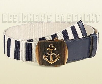ff1c22e720a GUCCI navy   ivory Stripe Canvas 34-85 brass ANCHOR Slip buckle Belt NWT  Authent