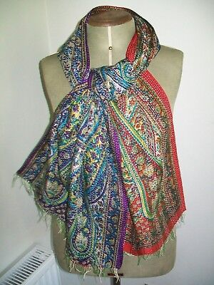 Large Indian Reversible Hand Made Classic Paisley Design Vintage Silk Scarf